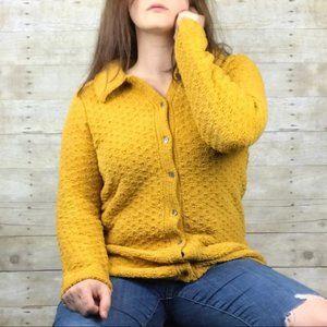 Denim&Co Mustard Yellow Chunky Oversized Cardigan